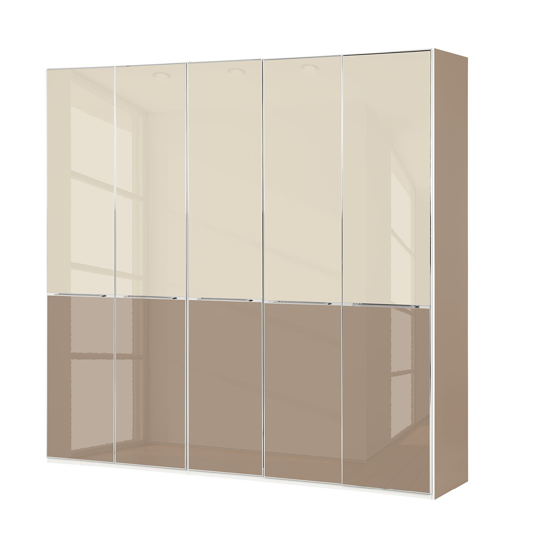 Drehtürenschrank Chicago I - Glas Magnolie / Glas Sahara - 250 cm (5-türig) - 236 cm, Althoff