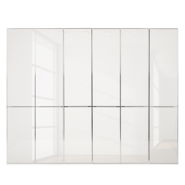 Drehtürenschrank Chicago I - Weiß / Glas Weiß - 300 cm (6-türig) - 216 cm, Althoff