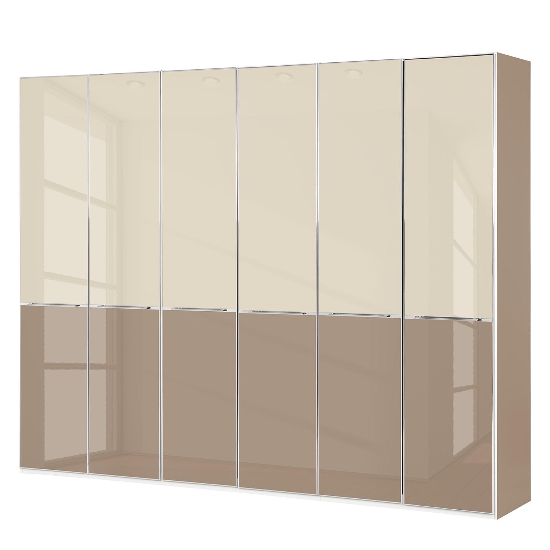 Drehtürenschrank Chicago I - Glas Magnolie / Glas Sahara - 300 cm (6-türig) - 236 cm, Althoff