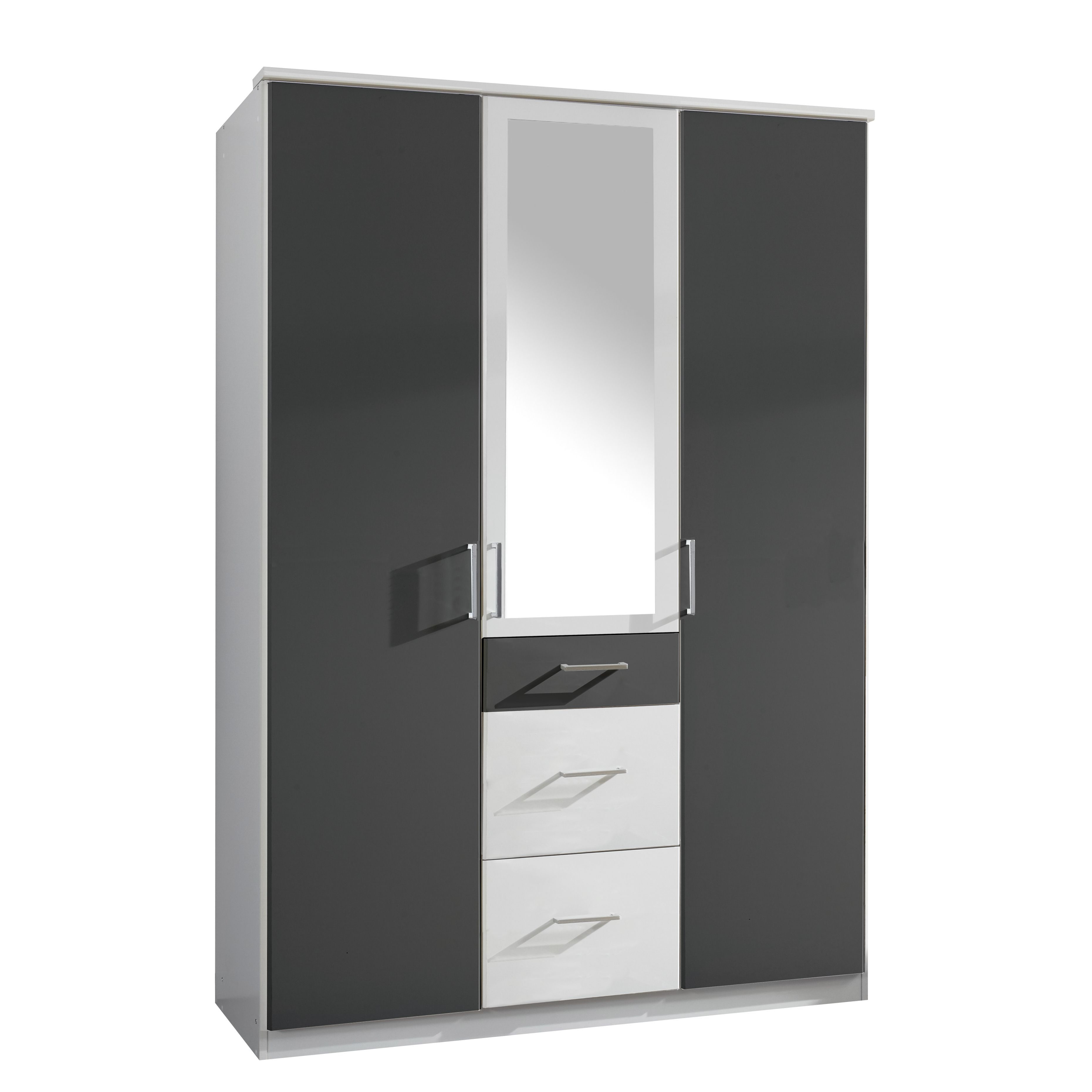 Drehtürenschrank Click (mit Spiegel) – Alpinweiß/Anthrazit – Sdchrankbreite: 180 cm – 4-türig – 2 Spiegel, Wimex kaufen