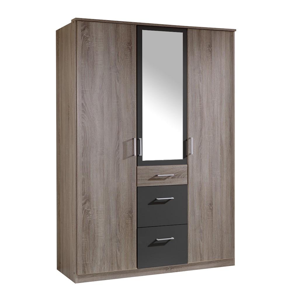 Drehtürenschrank Click (mit Spiegel) – Montana-Eiche Dekor/Lava – Schrankbreite: 135 cm – 3-türig – 1 Spiegel, Wimex jetzt kaufen