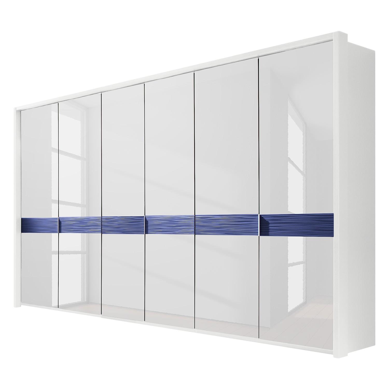 Drehtürenschrank Colorado - Ohne Beleuchtung - Weiß / Alpinweiß / Petrol - 300 cm (6-türig) - Mit Passepartoutrahmen, Althoff