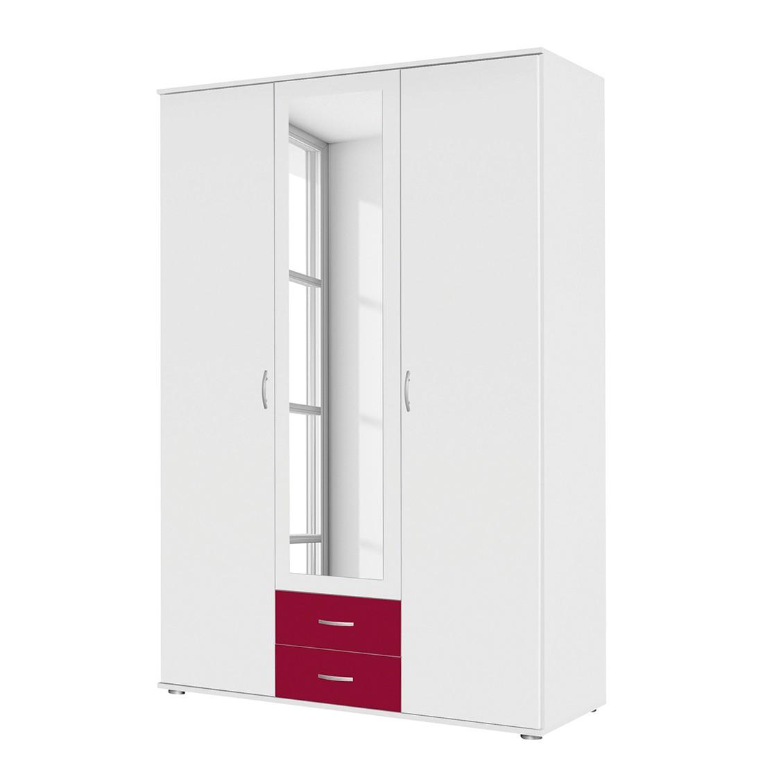 Drehtürenschrank Daniele II – Weiß / Rot – 127 cm (3-türig) – Mit Spiegeltür/-en, Rauch Pack´s günstig kaufen