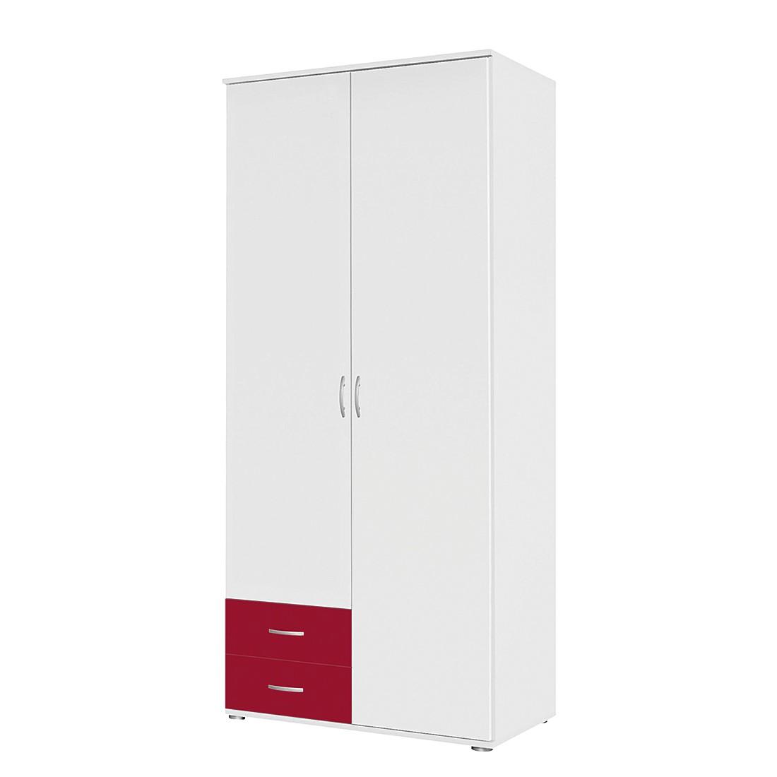 Drehtürenschrank Daniele II – Weiß / Rot – 85 cm (2-türig) – Ohne Spiegeltür/-en, Rauch Pack´s günstig bestellen
