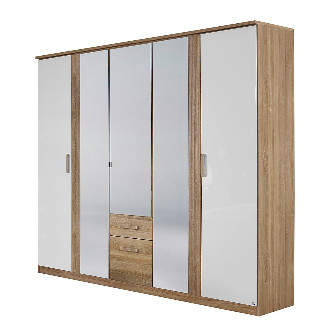 Drehtürenschrank Delft II – Eiche Sonoma Dekor/Hochglanz Weiß – Schrankbreite: 226 cm – 5-türig, Rauch Pack´s jetzt bestellen