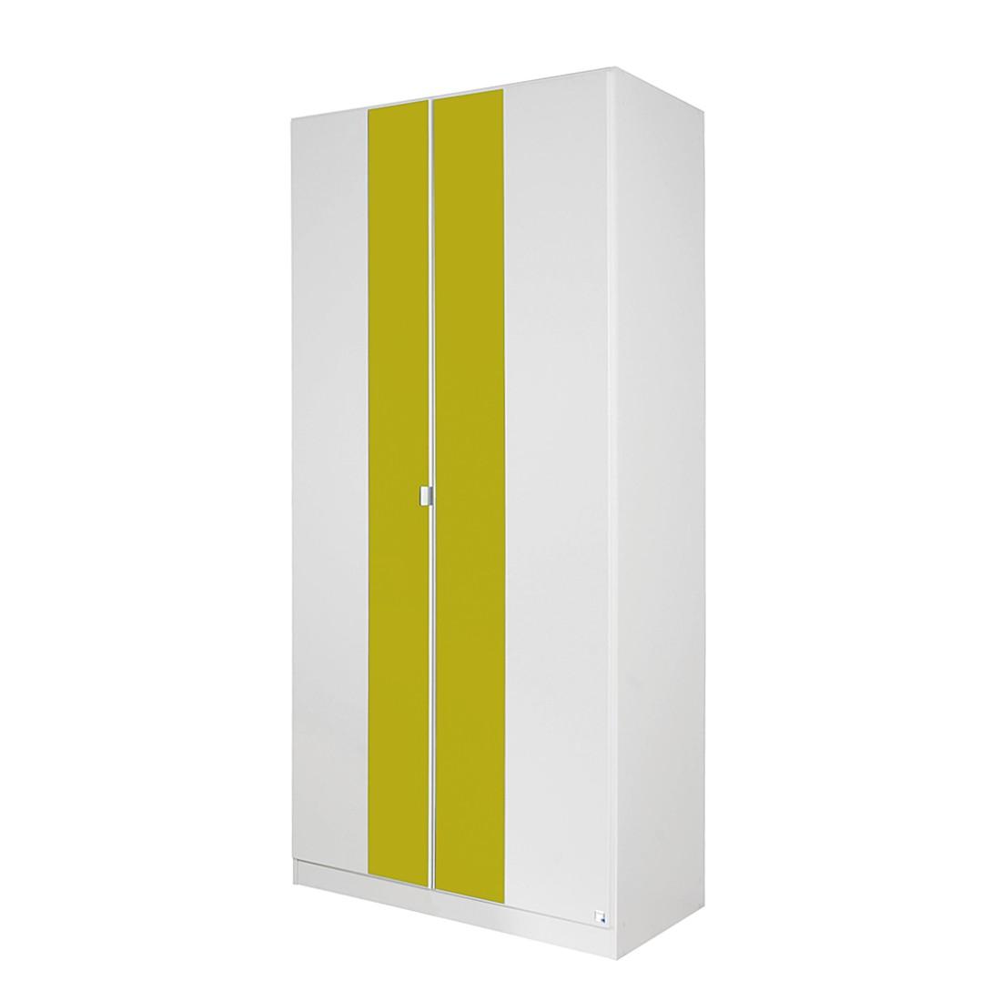 Drehtürenschrank Dortmund I – Alpinweiß/Glasabsetzung Limette – Schrankbreite: 91 cm – Innenaufteilung: 45I45 cm, Rauch Pack´s kaufen