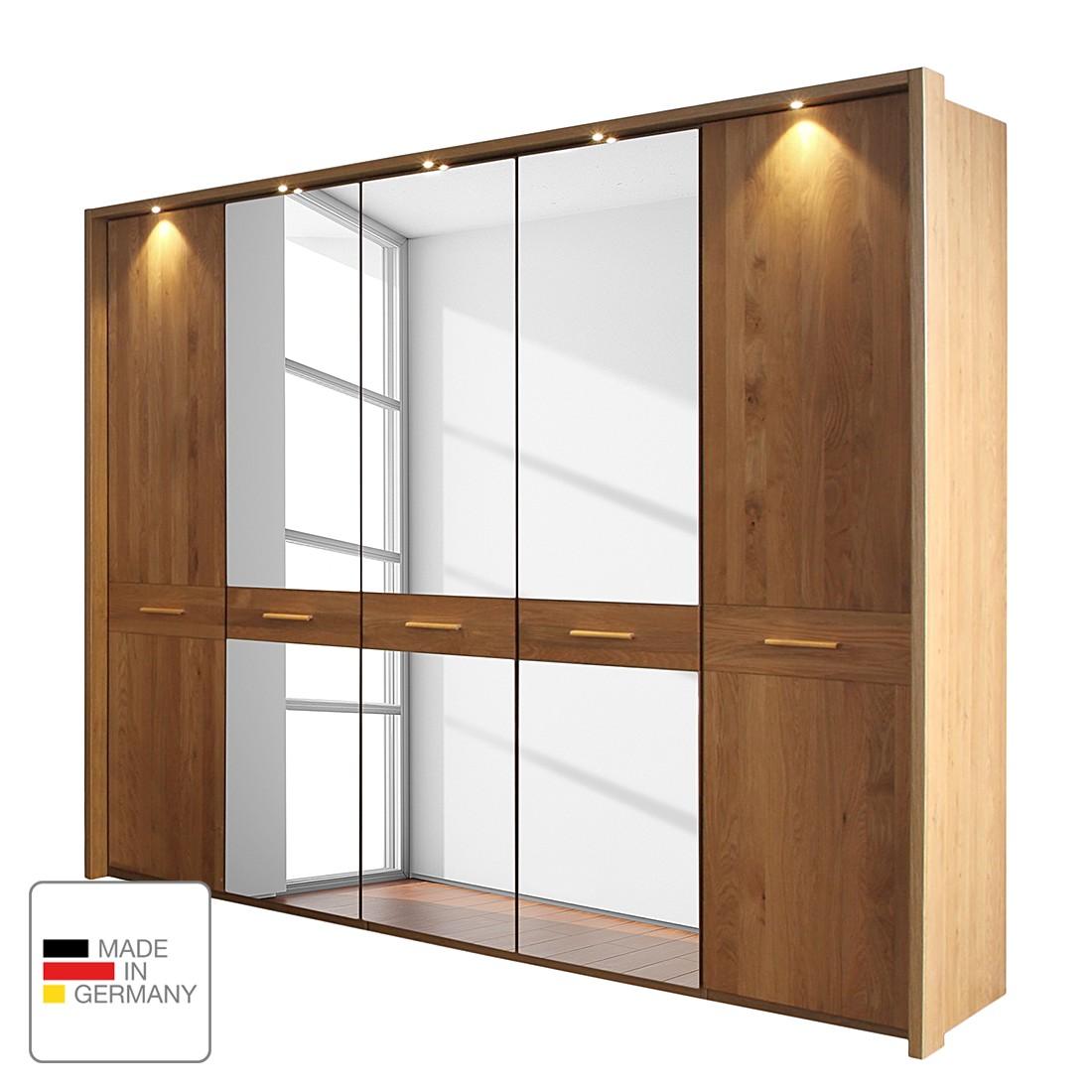 Drehtürenschrank Faro – Eiche teilmassiv – lackiert – 350 cm (7-türig) – 1 Spiegeltür – Mit beleuchtetem Passepartout, Althoff jetzt kaufen