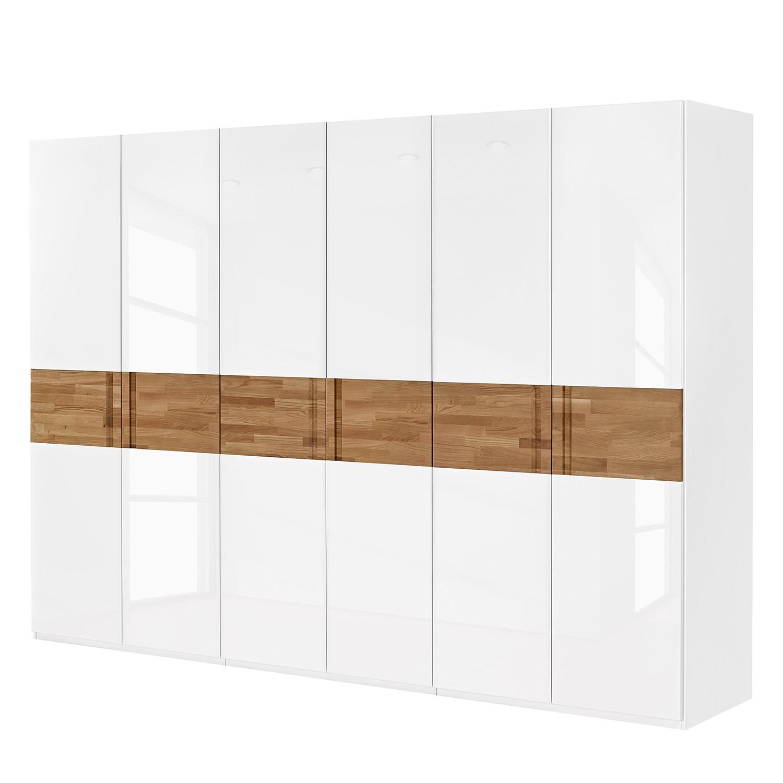 Drehtürenschrank Feel - Hochglanz Weiß / Eiche - 302 cm (6-türig) - Ohne Passepartoutrahmen, Arte M