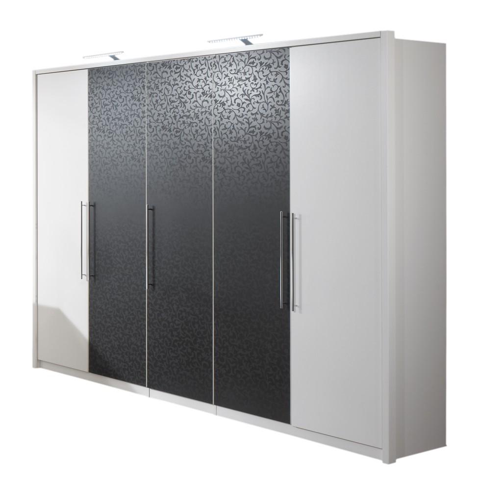 dreht renschrank iseon wei schwarz mit barockmuster 002 breite 256 cm mit. Black Bedroom Furniture Sets. Home Design Ideas