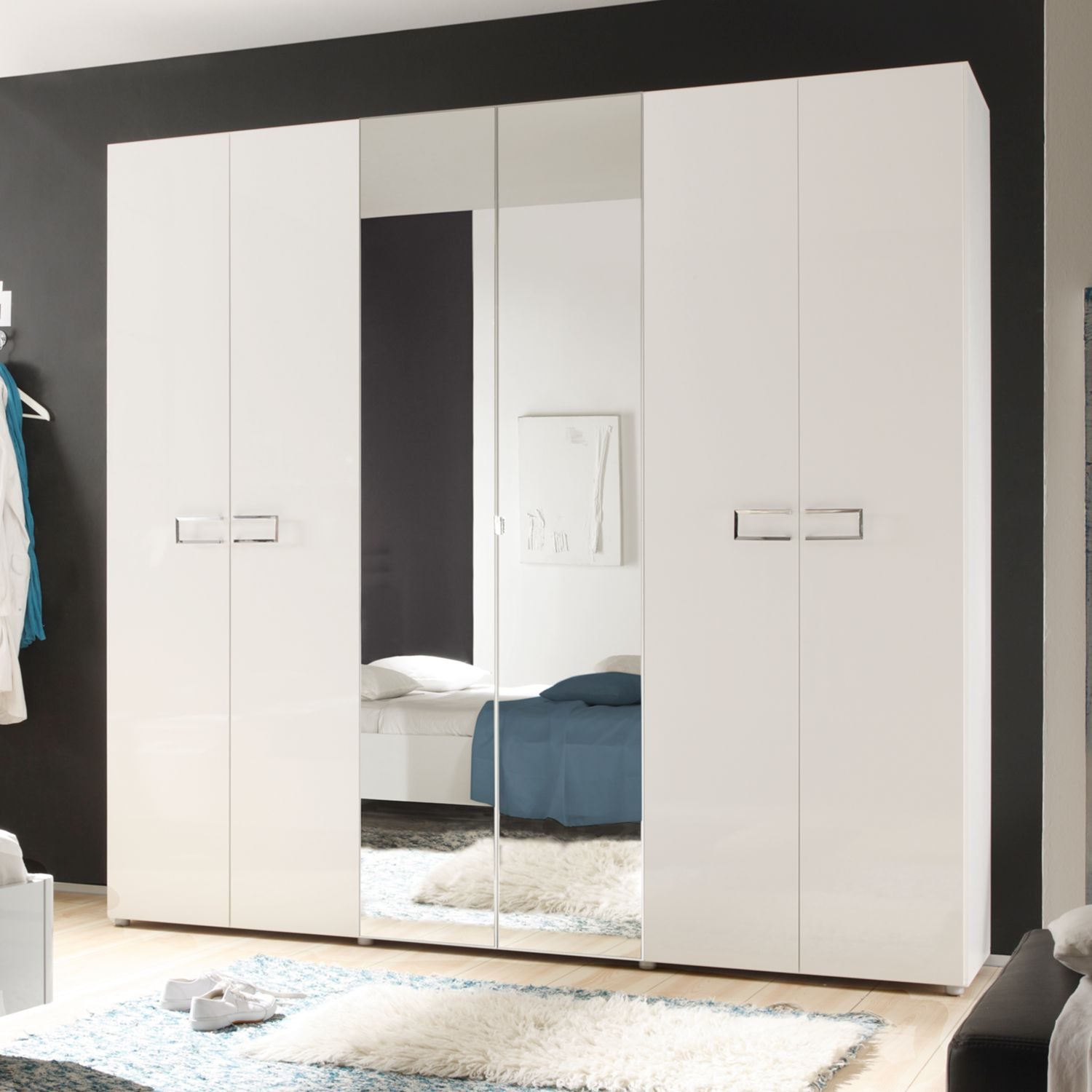 dreht renschrank lidia 6 t rig hochglanz wei 239 cm. Black Bedroom Furniture Sets. Home Design Ideas