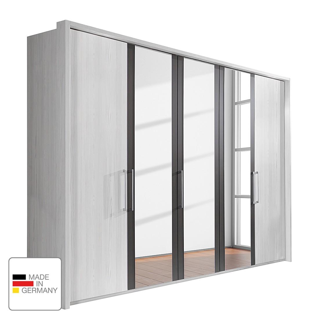 Drehtürenschrank Lissabon - Polar Lärche Dekor/Havanna - 350 cm (7-türig) - 1 Spiegeltür - Mit Passepartoutrahmen, Althoff