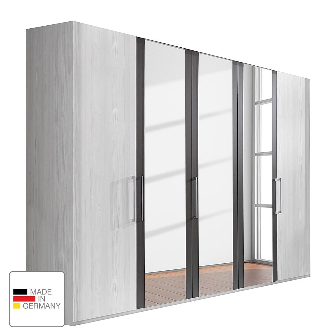 Drehtürenschrank Lissabon - Polar Lärche Dekor/Havanna - 400 cm (8-türig) - 2 Spiegeltüren - Ohne Passepartoutrahmen, Althoff