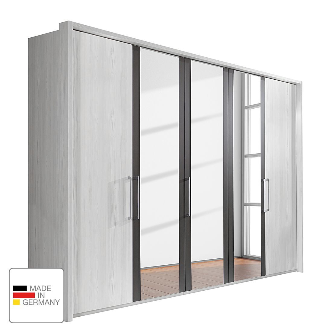 Drehtürenschrank Lissabon - Polar Lärche Dekor/Havanna - 400 cm (8-türig) - 4 Spiegeltüren - Mit Passepartoutrahmen, Althoff