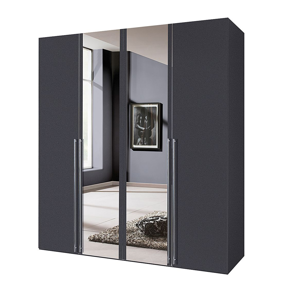 dreht renschrank melva graphit spiegel breite x h he 150 x 216 cm 3 t rig. Black Bedroom Furniture Sets. Home Design Ideas