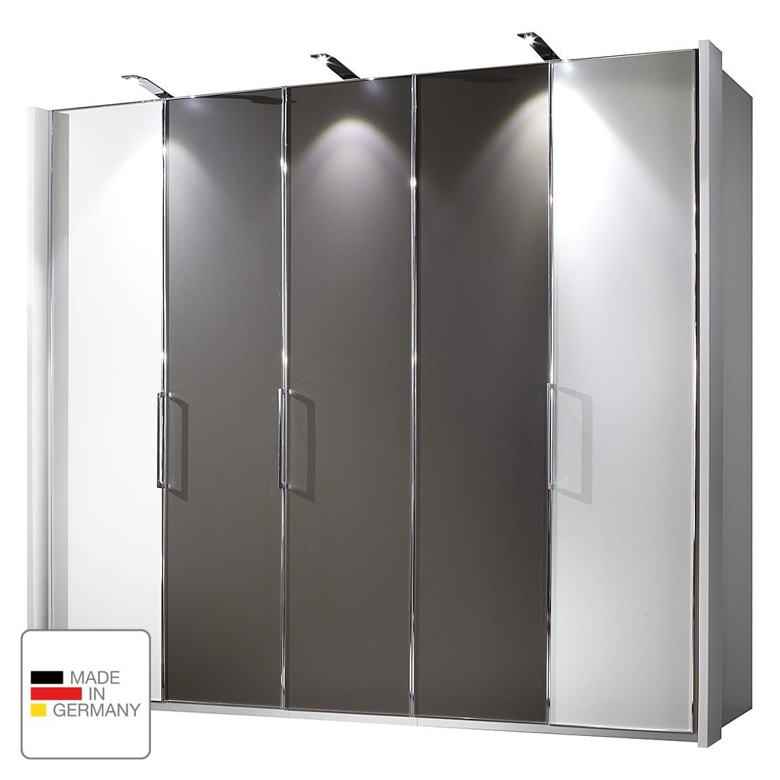 EEK A+, Drehtürenschrank Monza I - Alpinweiß/Havanna - LED-Beleuchtung - 350 cm (7-türig) - 1 Tür mit Absetzung - 216 cm, Althoff