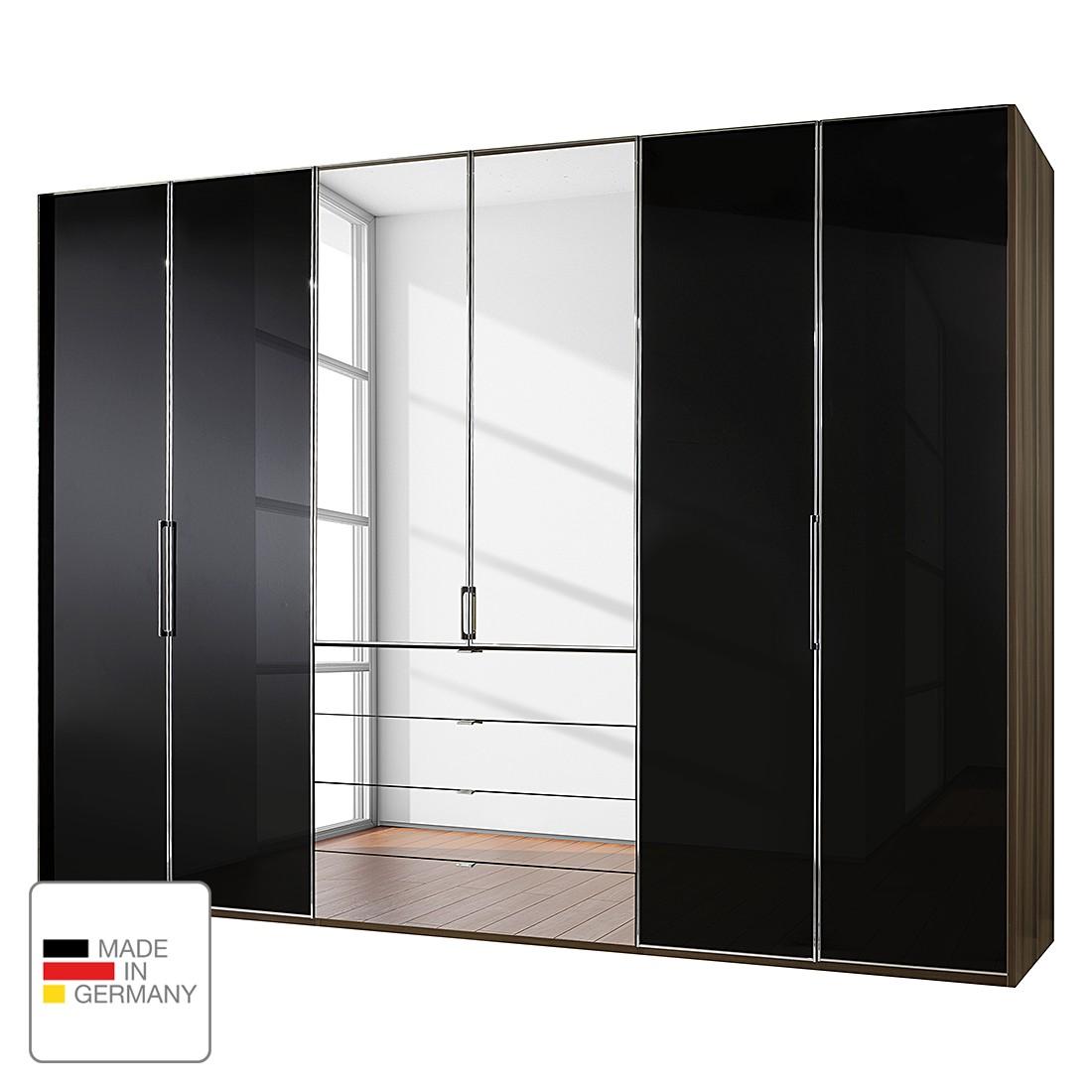 dreht renschrank monza walnuss dekor schwarzglas ohne beleuchtung 300 cm 6 t rig 216. Black Bedroom Furniture Sets. Home Design Ideas