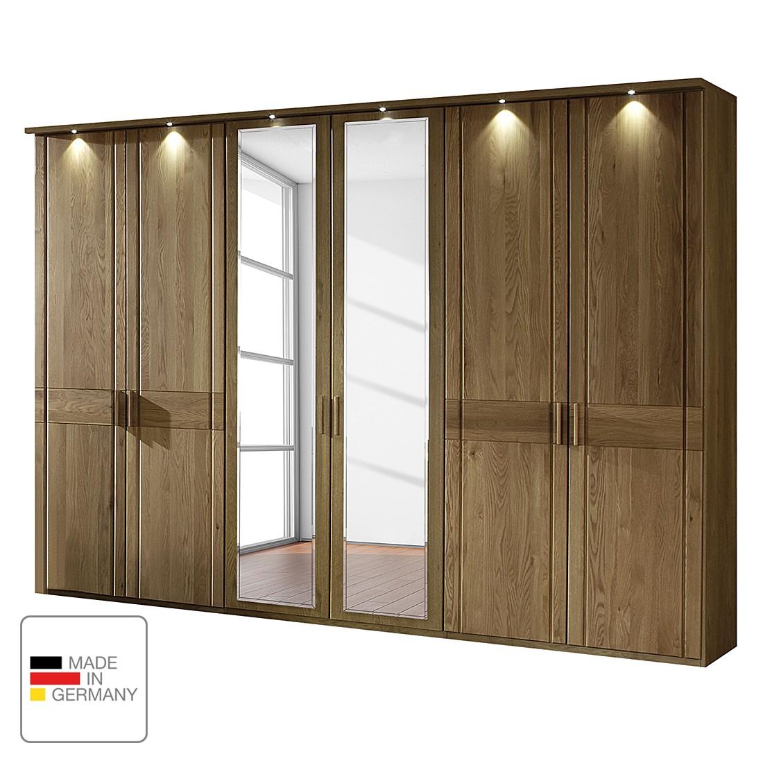 Drehtürenschrank Münster – Eiche teilmassiv – Mit Beleuchtung – 350 cm (7-türig) – 1 Spiegeltür – Mit Kranzblende, Althoff jetzt bestellen