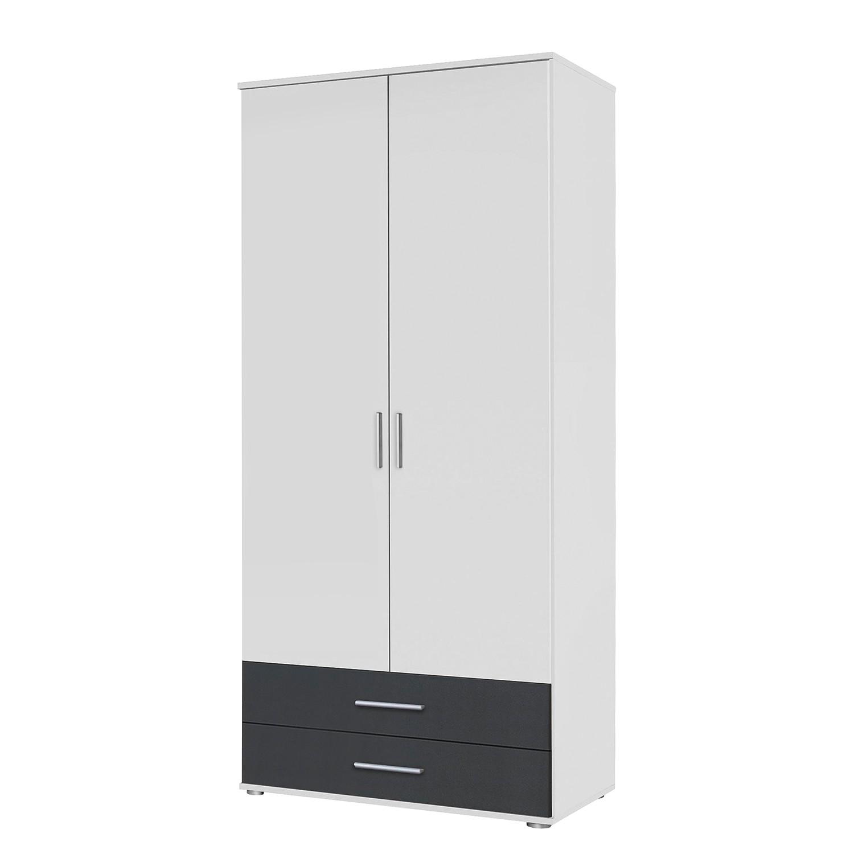 Draaideurkast Rasant- Extra - Alpinewit/antraciet - 85cm (2-deurs) - 2 lades - Zonder spiegeldeuren, Rauch Packs