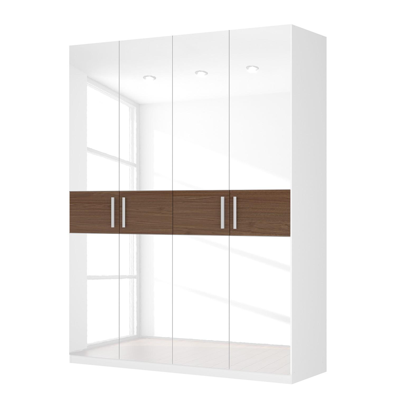 Drehtürenschrank SKØP I - Hochglanz Weiß/ Nussbaum Dekor - 181 cm (4-türig) - 236 cm - Comfort, SKØP