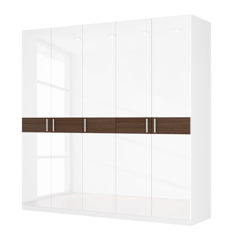 Drehtürenschrank SKØP I – Hochglanz Weiß/ Nussbaum Dekor – 225 cm (5-türig) – 222 cm – Basic, SKØP bestellen