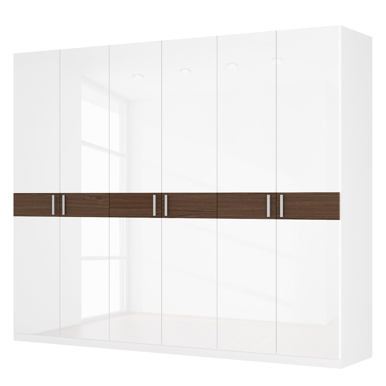 Drehtürenschrank SKØP I – Hochglanz Weiß/ Nussbaum Dekor – 270 cm (6-türig) – 222 cm – Basic, SKØP online bestellen