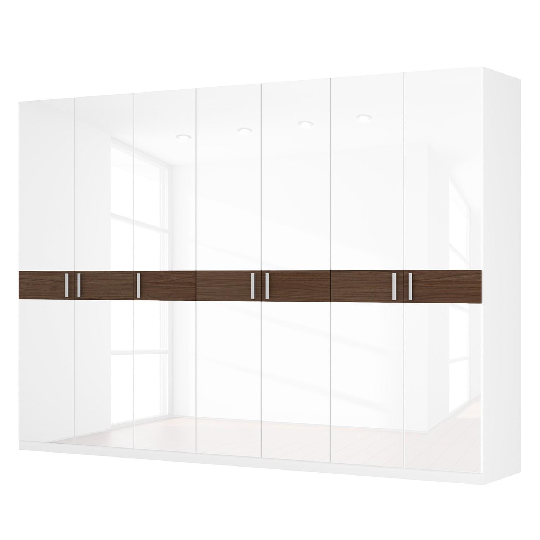 Drehtürenschrank SKØP I - Hochglanz Weiß/ Nussbaum Dekor - 315 cm (7-türig) - 222 cm - Comfort, SKØP