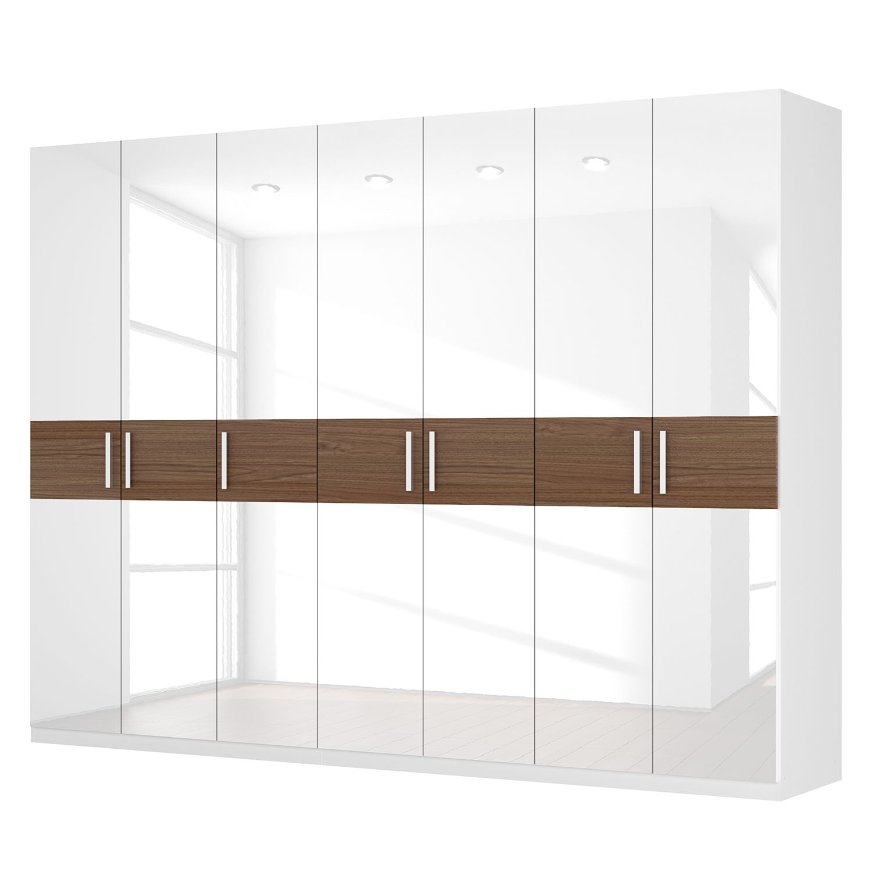 Drehtürenschrank SKØP I - Hochglanz Weiß/ Nussbaum Dekor - 315 cm (7-türig) - 236 cm - Comfort, SKØP