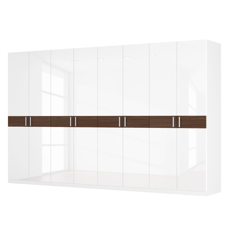 Drehtürenschrank SKØP I - Hochglanz Weiß/ Nussbaum Dekor - 360 cm (8-türig) - 222 cm - Comfort, SKØP