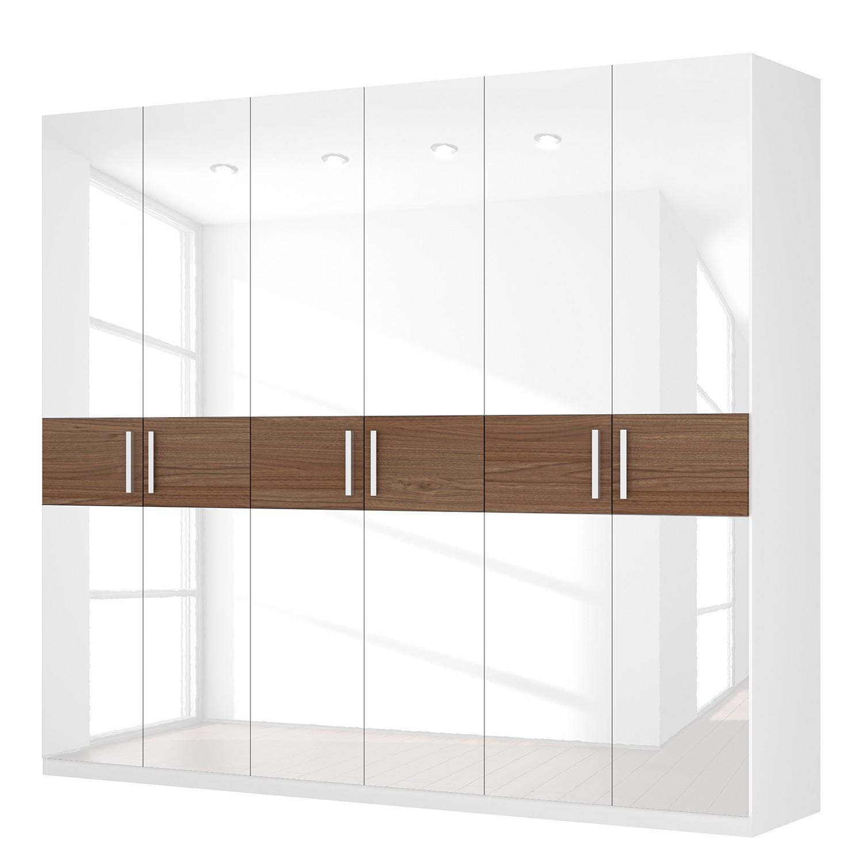 Drehtürenschrank SKØP I - Hochglanz Weiß/ Nussbaum Dekor - 360 cm (8-türig) - 236 cm - Comfort, SKØP