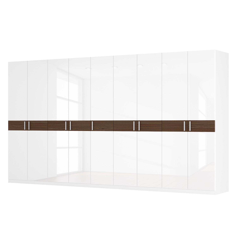 Drehtürenschrank SKØP I – Hochglanz Weiß/ Nussbaum Dekor – 405 cm (9-türig) – 222 cm – Basic, SKØP jetzt bestellen