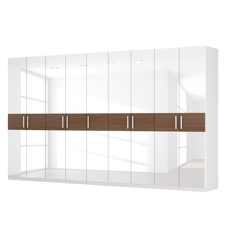 Drehtürenschrank SKØP I – Hochglanz Weiß/ Nussbaum Dekor – 405 cm (9-türig) – 236 cm – Classic, SKØP günstig