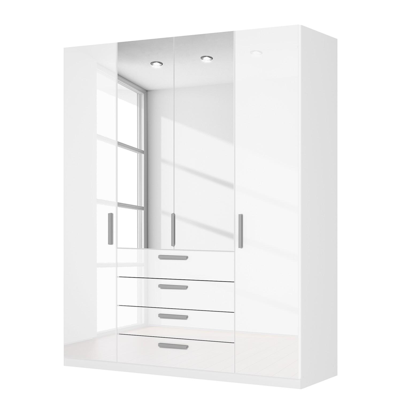 Drehtürenschrank SKØP II – Hochglanz Weiß/ Kristallspiegel – 181 cm (4-türig) – 222 cm – Premium, SKØP online kaufen