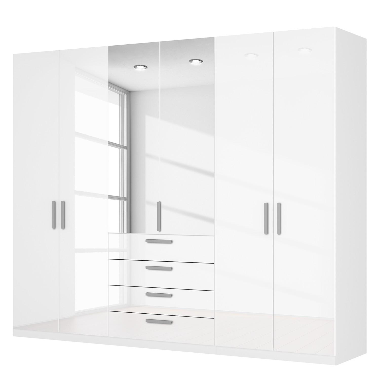 Drehtürenschrank SKØP II – Hochglanz Weiß/ Kristallspiegel – 270 cm (6-türig) – 222 cm – Comfort, SKØP günstig online kaufen