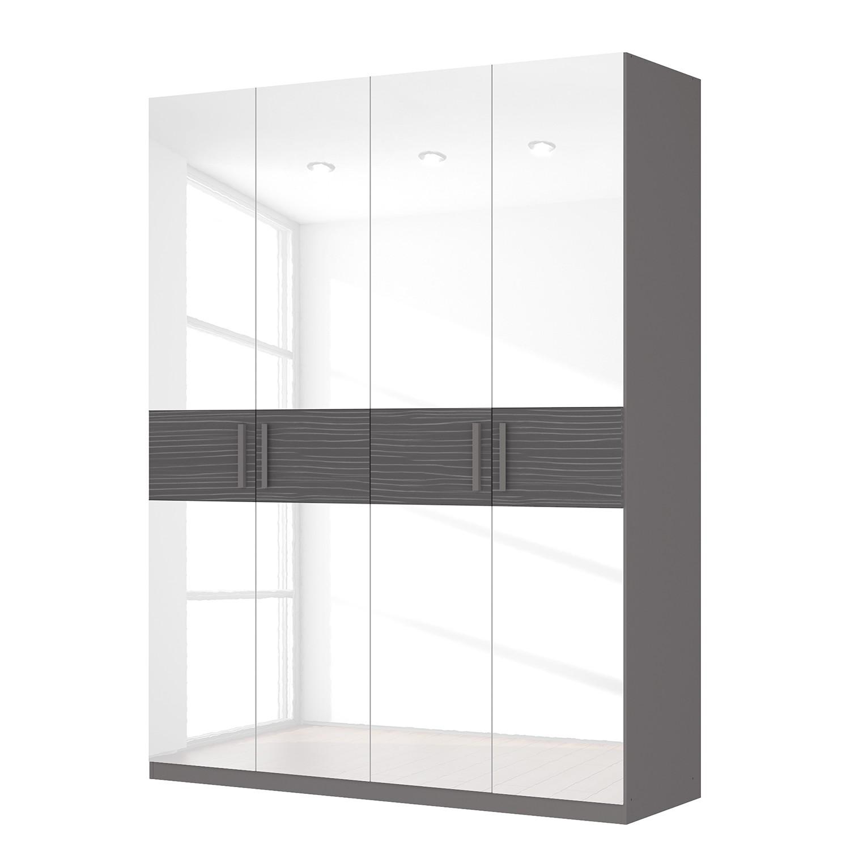 Drehtürenschrank SKØP III – Hochglanz Weiß/ Strukturholz Graphit – 181 cm (4-türig) – 236 cm – Premium, SKØP kaufen