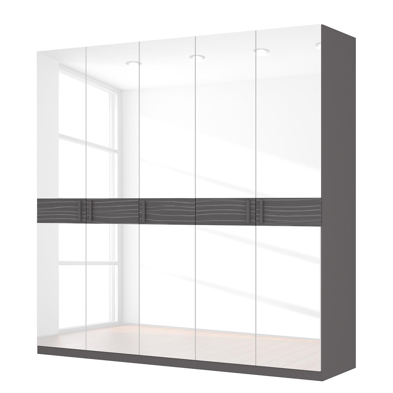Drehtürenschrank SKØP III – Hochglanz Weiß/ Strukturholz Graphit – 225 cm (5-türig) – 222 cm – Premium, SKØP jetzt bestellen
