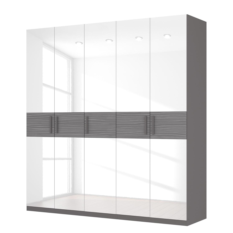Drehtürenschrank SKØP III – Hochglanz Weiß/ Strukturholz Graphit – 225 cm (5-türig) – 236 cm – Premium, SKØP günstig bestellen