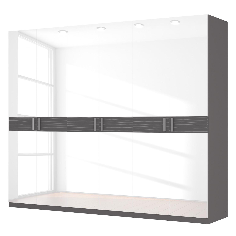 Drehtürenschrank SKØP III – Hochglanz Weiß/ Strukturholz Graphit – 270 cm (6-türig) – 222 cm – Comfort, SKØP günstig online kaufen