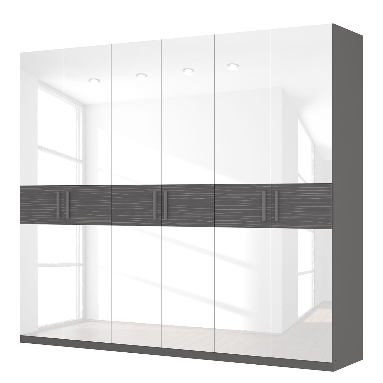 Drehtürenschrank SKØP III - Hochglanz Weiß/ Strukturholz Graphit - 270 cm (6-türig) - 236 cm - Basic, SKØP