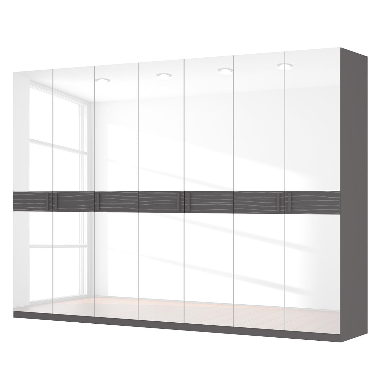 Drehtürenschrank SKØP III - Hochglanz Weiß/ Strukturholz Graphit - 315 cm (7-türig) - 222 cm - Basic, SKØP