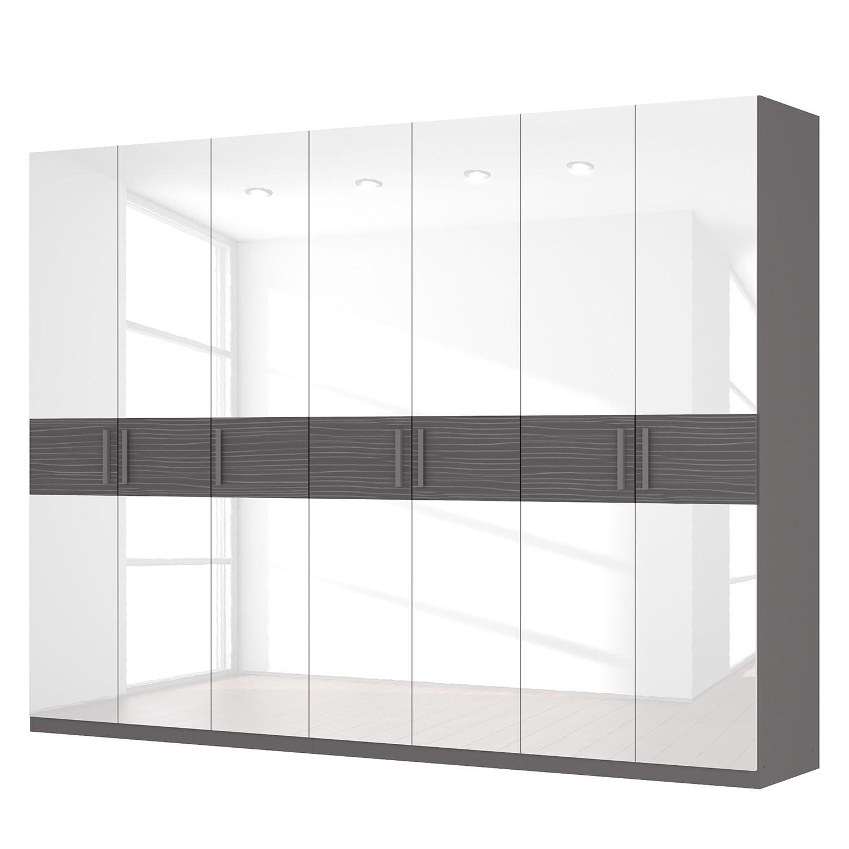 Drehtürenschrank SKØP III – Hochglanz Weiß/ Strukturholz Graphit – 315 cm (7-türig) – 236 cm – Premium, SKØP online bestellen