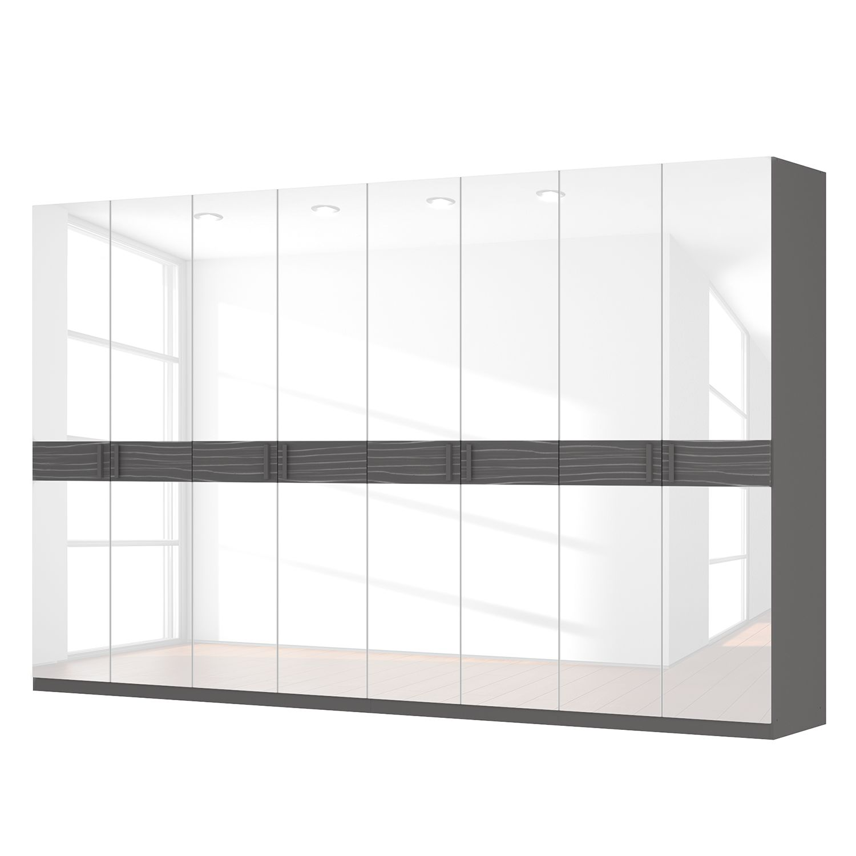 Drehtürenschrank SKØP III – Hochglanz Weiß/ Strukturholz Graphit – 360 cm (8-türig) – 222 cm – Premium, SKØP günstig bestellen