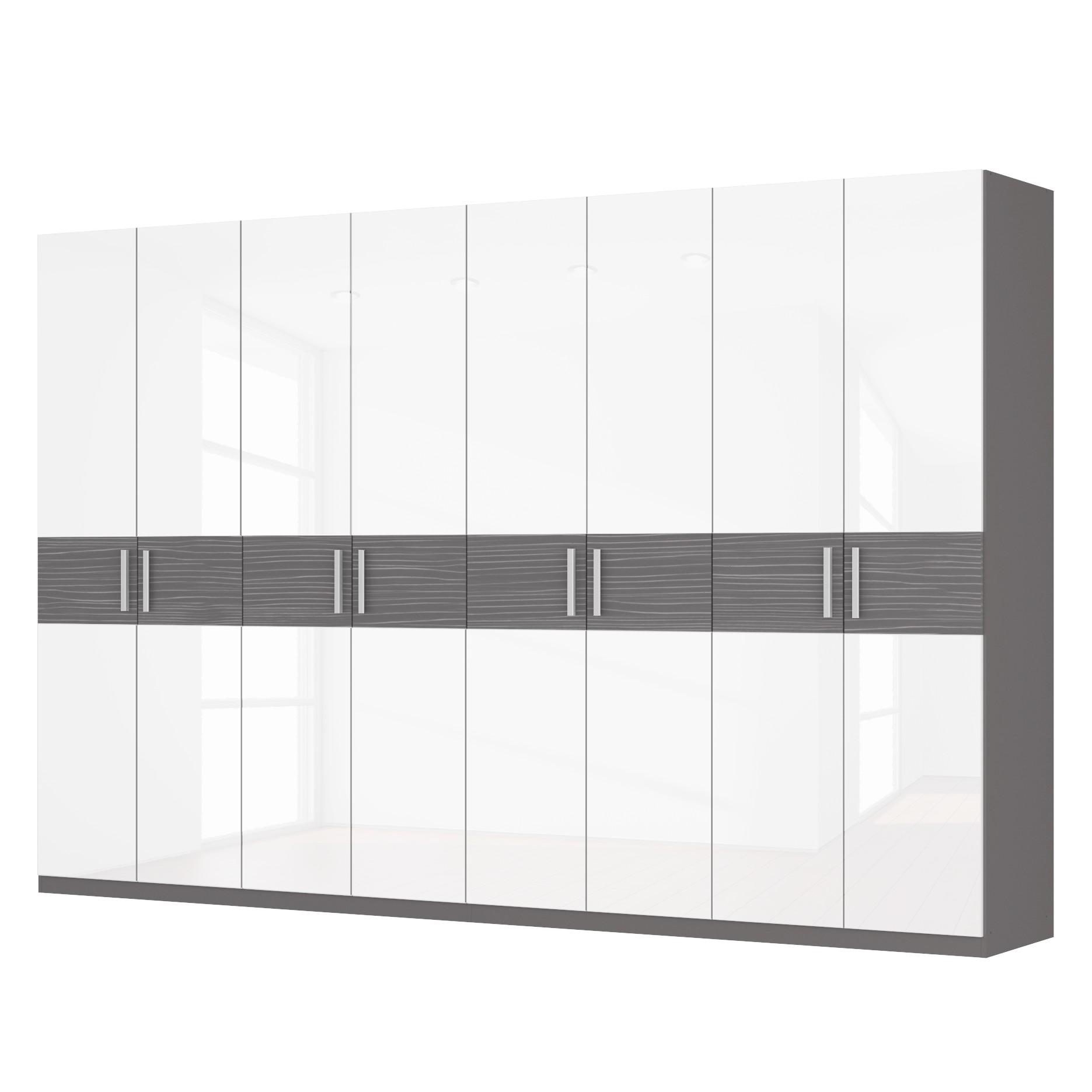 Drehtürenschrank SKØP III – Hochglanz Weiß/ Strukturholz Graphit – 360 cm (8-türig) – 236 cm – Basic, SKØP günstig