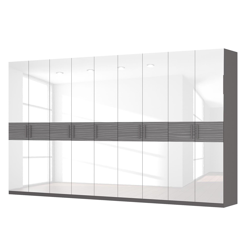 Drehtürenschrank SKØP III – Hochglanz Weiß/ Strukturholz Graphit – 405 cm (9-türig) – 236 cm – Premium, SKØP online kaufen