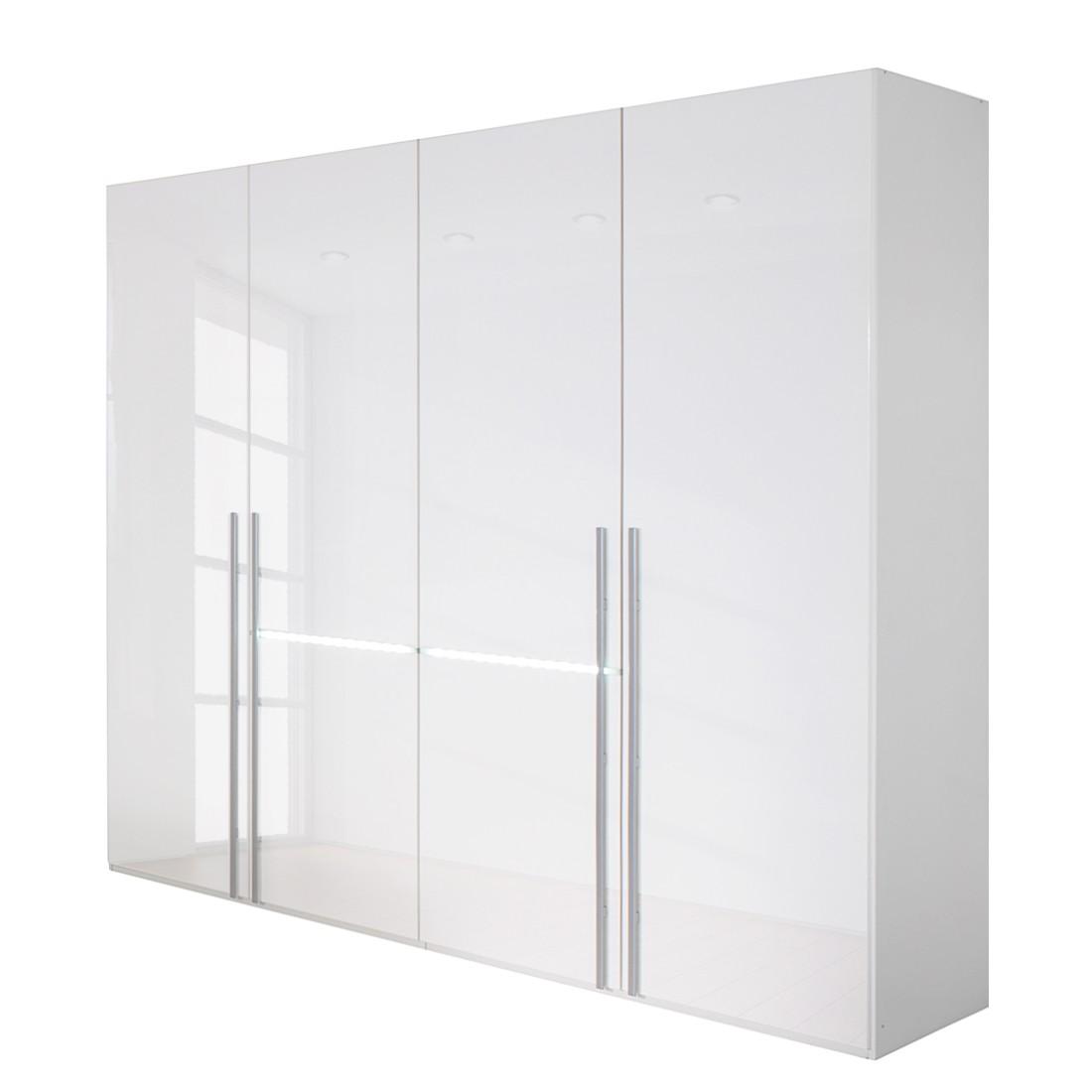 Drehtürenschrank Tira - Alpinweiß/Hochglanz Weiß - Mit integrierter Beleuchtung - Schrankbreite: 300 cm - 5-türig, Rauch Select
