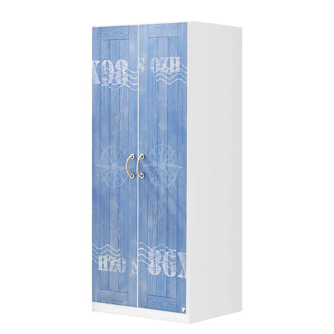 Kleiderschrank Torben (2-türig) – Weiß/Print Nordsee Dekor – ohne extra Einlegeboden, Rauch Pack´s günstig