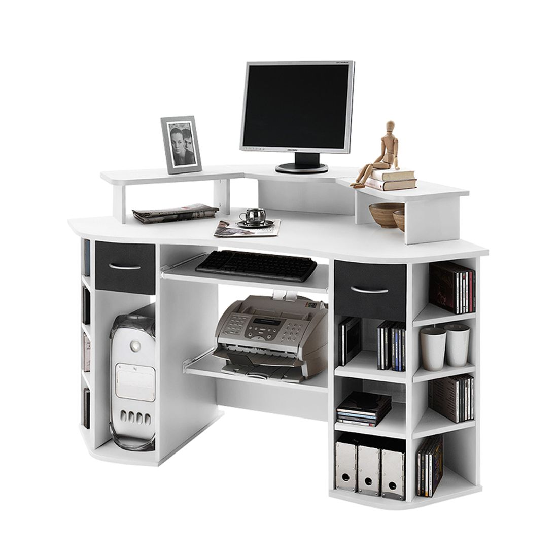 computertisch mit aufsatz g nstig kaufen. Black Bedroom Furniture Sets. Home Design Ideas
