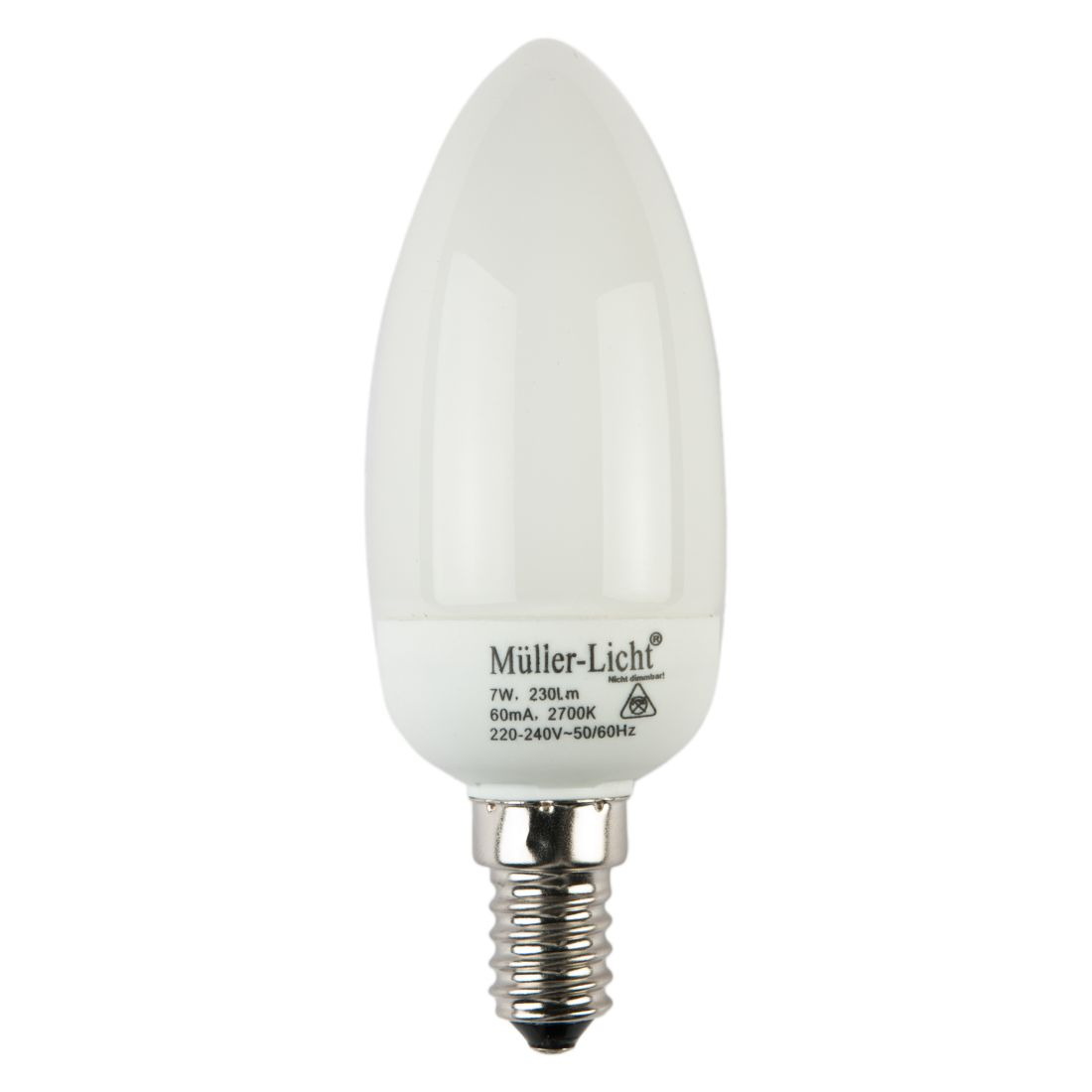 Energiesparlampe E14 7 W Kerze ● Satinglas Opalweiß- Mega Licht