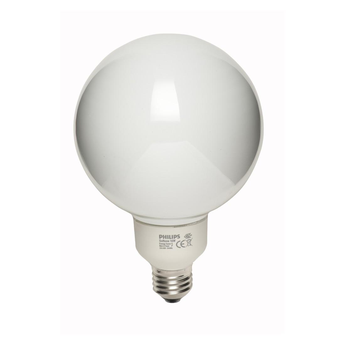 Energiesparlampe E27 16 W Globe G120 ● Glas Opalweiß- Mega Licht