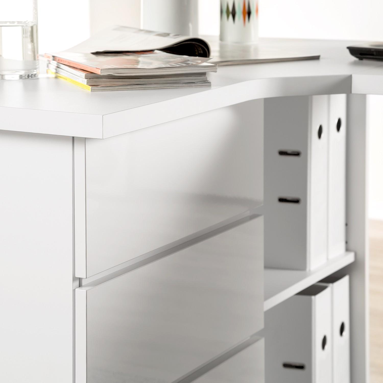 eckschreibtisch samiera wei hochglanz wei schreibtisch arbeitstisch. Black Bedroom Furniture Sets. Home Design Ideas