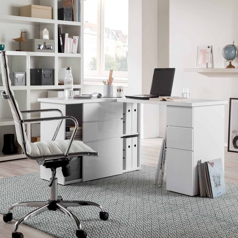 eckschreibtisch samiera wei hochglanz wei schreibtisch. Black Bedroom Furniture Sets. Home Design Ideas